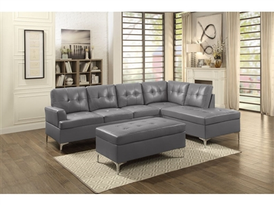 Barrington Sectional Sofa in Grey by Home Elegance - HEL-8378GRY