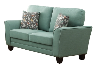 Adair Love Seat in Teal by Home Elegance - HEL-8413TL-2