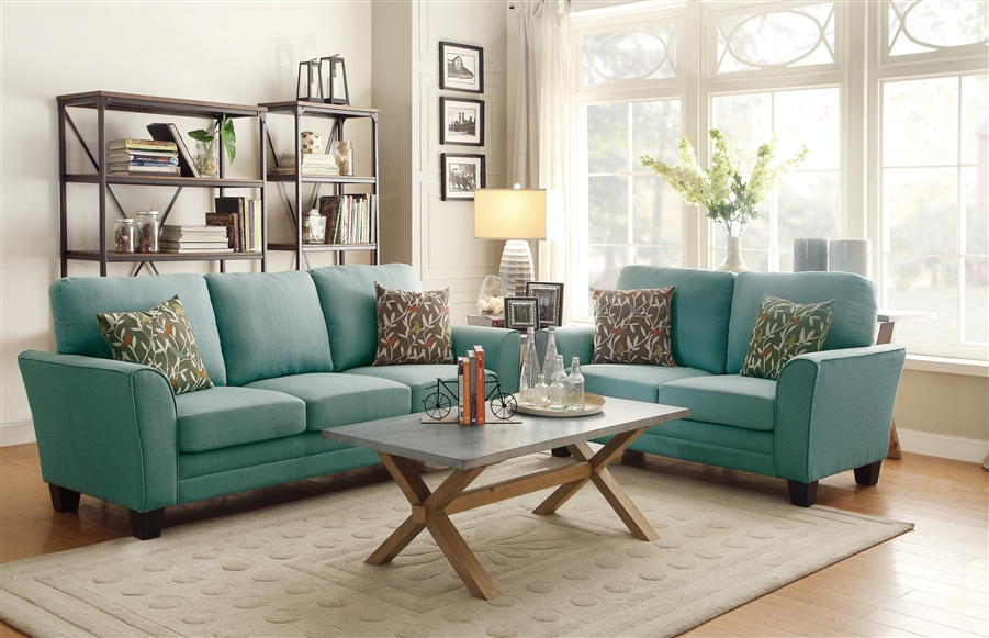 Wondrous Adair 2 Piece Sofa Set In Teal By Home Elegance Hel 8413Tl Inzonedesignstudio Interior Chair Design Inzonedesignstudiocom