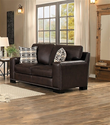 Gowan Love Seat in Dark Brown by Home Elegance - HEL-8477DB-2