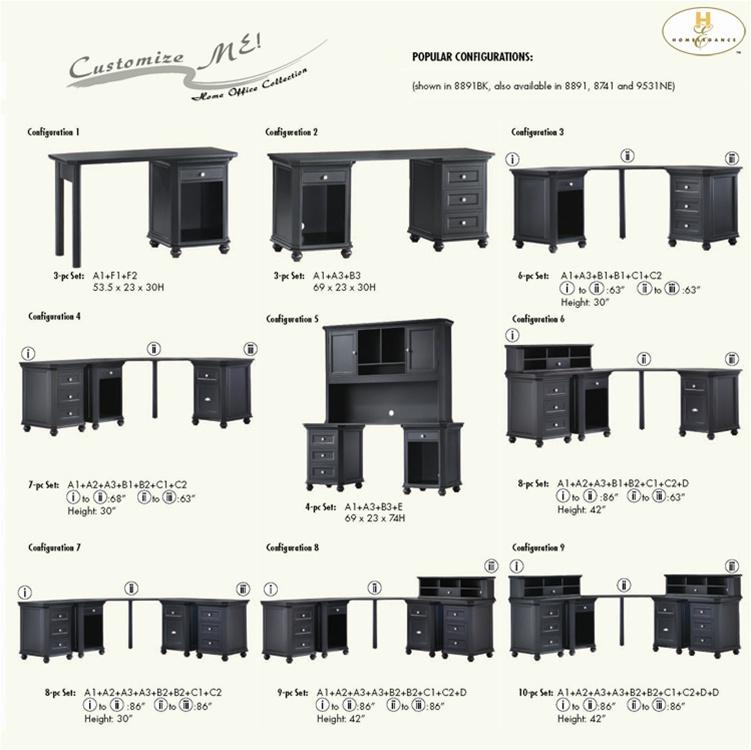 Hanna 6 Piece Corner Desk In White Or Black Finish By Homelegance 8891 C1