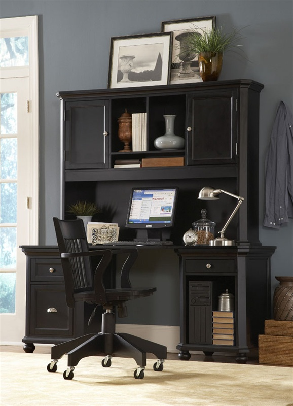 Hanna 4 Piece Desk And Hutch In Black Or White Finish By Homelegance 8891bk Conf5