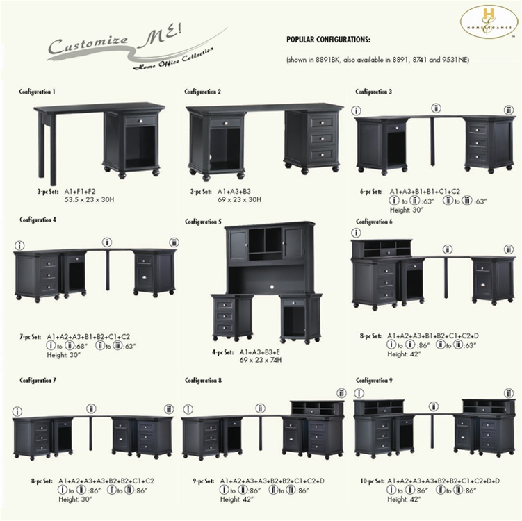 Hanna 8 Piece Corner Desk Set In Black Or White Finish By Homelegance 8891bk Conf7