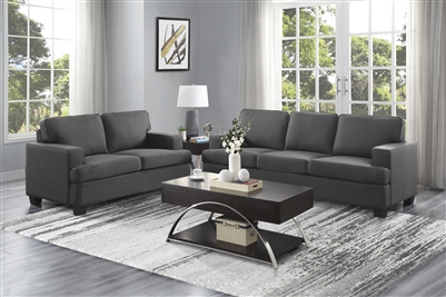 Elmont 2 Piece Sofa Set in Charcoal by Home Elegance - HEL-9327CC