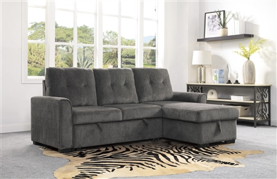 Carolina Sectional Sofa in Dark Gray by Home Elegance - HEL-9402DGY-SC
