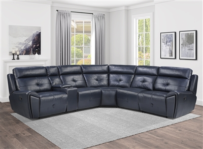 Avenue Reclining Sectional Sofa in Navy by Home Elegance - HEL-9469NVB-6LRRR