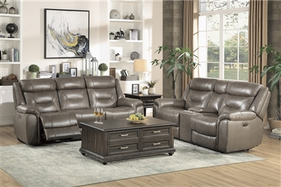 Danio 2 Piece Power Double Reclining Sofa Set in Brownish Gray by Home Elegance - HEL-9528BRG-PWH