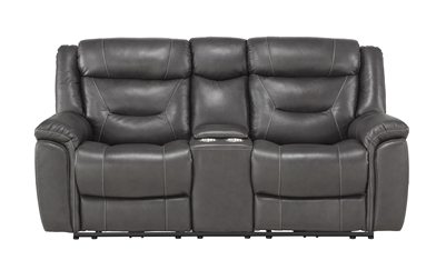 Danio Power Double Reclining Love Seat in Dark Gray by Home Elegance - HEL-9528DGY-2PWH
