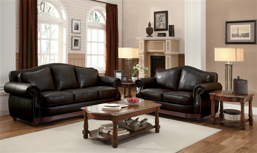 Midwood 2 Piece Sofa Set In Dark Brown
