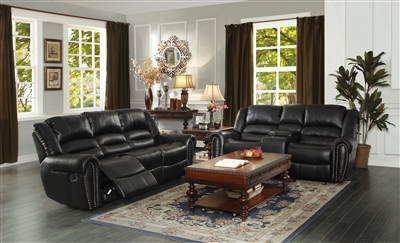 Center Hill 2 Piece Double Reclining Sofa Set in Black by Home Elegance - HEL-9668BLK