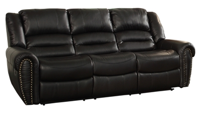 Center Hill Double Reclining Sofa in Black by Home Elegance - HEL-9668BLK-3