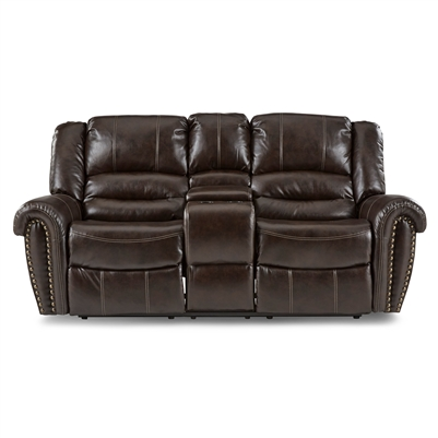 Center Hill Double Reclining Love Seat in Dark Brown by Home Elegance - HEL-9668BRW-2