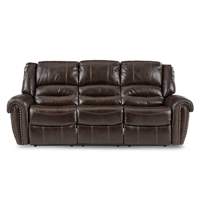 Center Hill Double Reclining Sofa in Dark Brown by Home Elegance - HEL-9668BRW-3