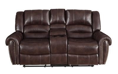 Center Hill Double Reclining Love Seat in Dark Brown by Home Elegance - HEL-9668NDB-2