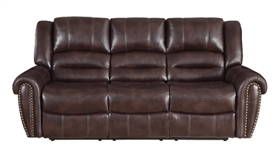 Center Hill Double Reclining Sofa in Dark Brown by Home Elegance - HEL-9668NDB-3