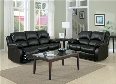 Cranley 2 Piece Double Reclining Sofa Set in Black by Home Elegance - HEL-9700BLK