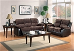 Cranley 2 Piece Power Double Reclining Sofa Set in Chocolate by Home Elegance - HEL-9700FCP-PW