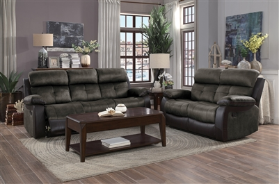 Acadia 2 Piece Double Reclining Sofa Set in Two-tone Brown by Home Elegance - HEL-9801BR