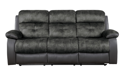 Acadia Double Reclining Sofa in Two-tone Gray by Home Elegance - HEL-9801GY-3