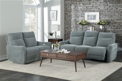 Edition 2 Piece Power Double Lay Flat Reclining Sofa Set in Dove Gray by Home Elegance - HEL-9804DV-PWH