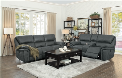 Hadden 2 Piece Power Double Reclining Sofa Set in Gray by Home Elegance - HEL-9903GY-PW