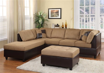 Comfort Living Reversible Sectional Sofa in Brown by Home Elegance - HEL-9909BR