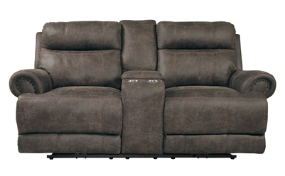 Aggiano Power Double Reclining Love Seat in Dark Brown by Home Elegance - HEL-9911DBR-2PWH