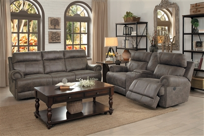 Aggiano 2 Piece Double Reclining Sofa Set in Dark Brown by Home Elegance - HEL-9911DBR