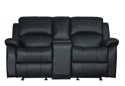 Clarkdale Double Reclining Love Seat in Black by Home Elegance - HEL-9928BLK-2