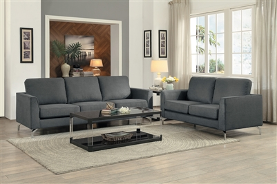 Canaan 2 Piece Sofa Set in Gray by Home Elegance - HEL-9935GY