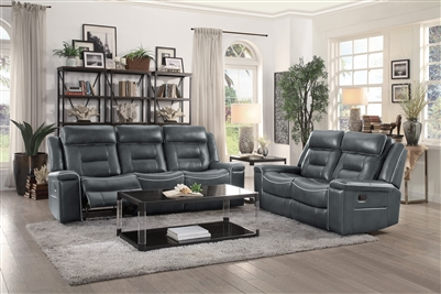 Darwan 2 Piece Double Lay Flat Reclining Sofa Set in Dark Gray by Home Elegance - HEL-9999DG