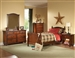 Aris 4 Piece Youth Bedroom Set in Warm Brown Cherry by Home Elegance - HEL-B1422T-1-4