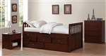 Rowe Twin/Twin Trundle Bed with Two Storage Drawers in Dark Cherry by Home Elegance - HEL-B2013PRDC-1