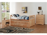 Bartly Twin/Twin Trundle Bed with Two Storage Drawers in Pine by Home Elegance - HEL-B2043PR-1