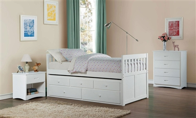 Galen Twin/Twin Trundle Bed with Two Storage Drawers in White by Home Elegance - HEL-B2053PRW-1