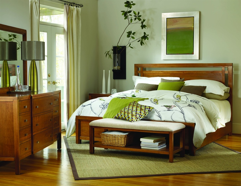 Panel Bed 6 Piece Bedroom Set in Natural Cherry Finish by Hooker ...