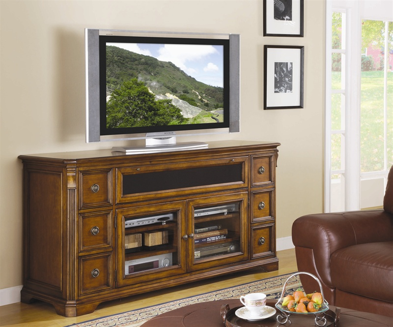Brookhaven 68 Inch Entertainment Console In Distressed Cherry Finish By  Hooker Furniture HF 281 55 476