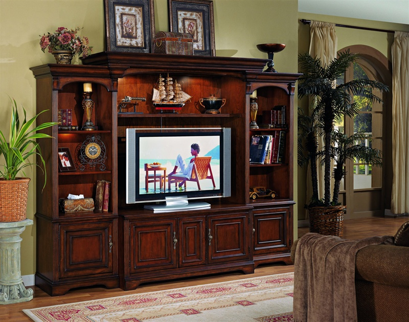 Brookhaven 55 Inch Tv Home Theater Wall Unit In Distressed