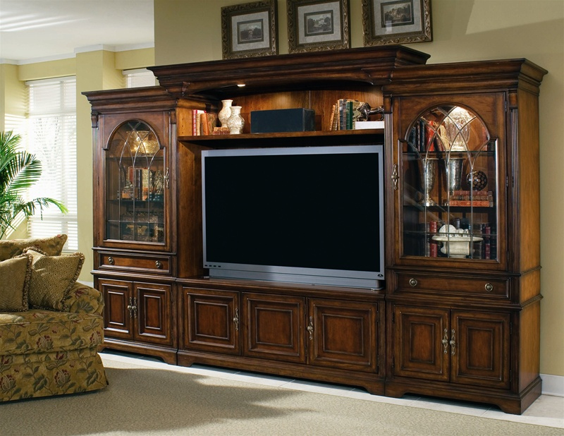 brookhaven 65 inch tv home theater wall unit in distressed cherry finish by hooker furniture hf. Black Bedroom Furniture Sets. Home Design Ideas