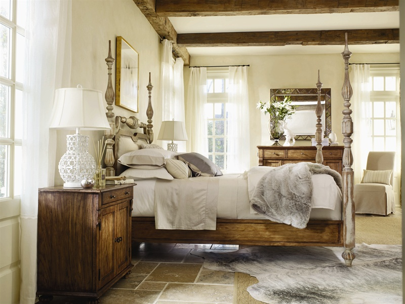 Sanctuary Poster Bed 6 Piece Bedroom Set In Dune And Beach Physically  Distressed Finish By Hooker Furniture ...