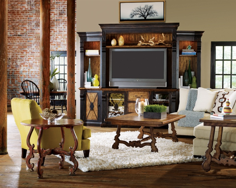 Sanctuary 70 Inch Console 8 Piece Home Theater Wall Unit In Ebony U0026 Drift  Finish By Hooker Furniture ...
