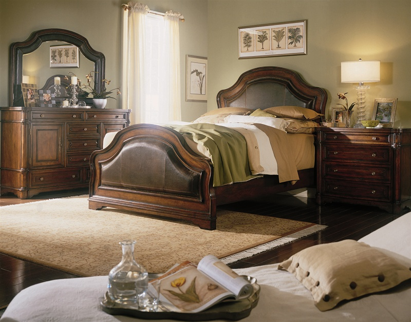 hooker bedroom furniture. Wynterhall Leather Sleigh Bed 6 Piece Bedroom Set in Rich Warm Brown Finish  by Hooker Furniture