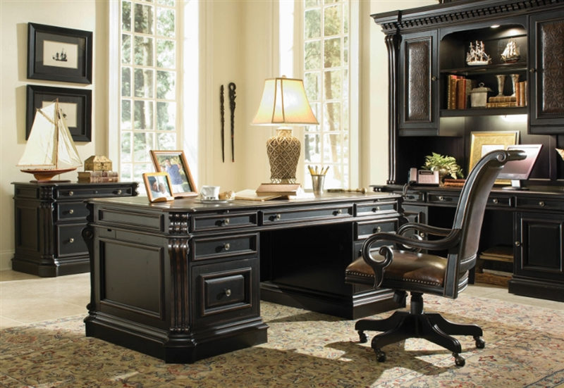 Telluride Distressed Black Finish Executive Desk With Leather Panels By Furniture Hf 370 10 363