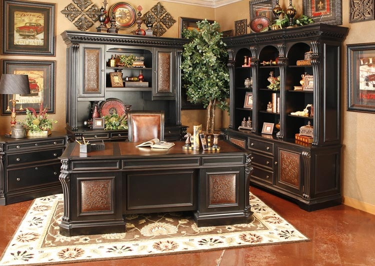 Telluride 4 Piece Executive Home Office Set In Distressed Black Finish By Furniture