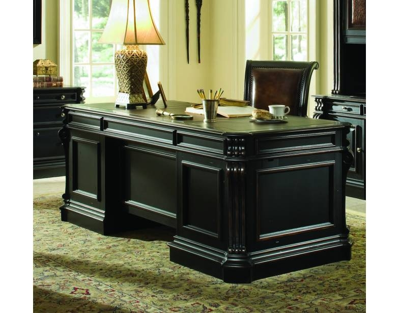 Telluride Distressed Black Finish Executive Desk With Wood Panels By Furniture Hf 370 10 563