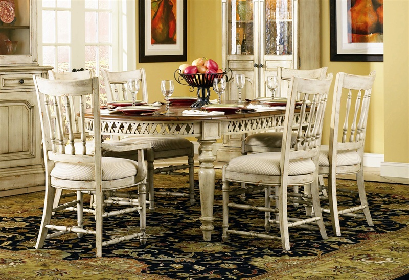 Summerglen 7 Piece Oval Leg Dining Table With Spindle Back Chairs In  Two Tone Off White ...