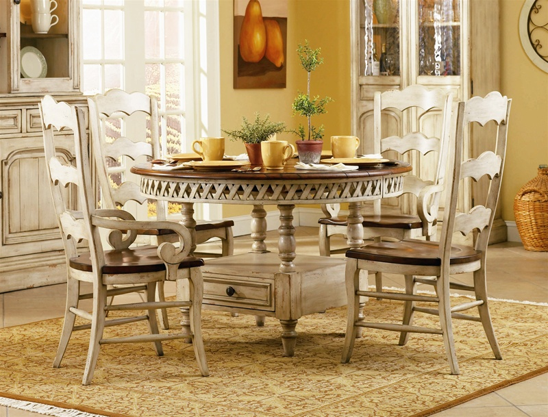 Summerglen 5 Piece Round Dining Table With Three Rung Ladderback Back Chairs  In Two Tone Off White ...