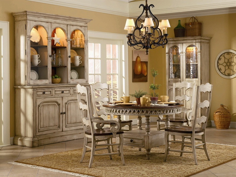 Summerglen 62 Inch Buffet And Triple Arch Hutch In Two Tone Off White Finish By Hooker Furniture HF 479 75 901