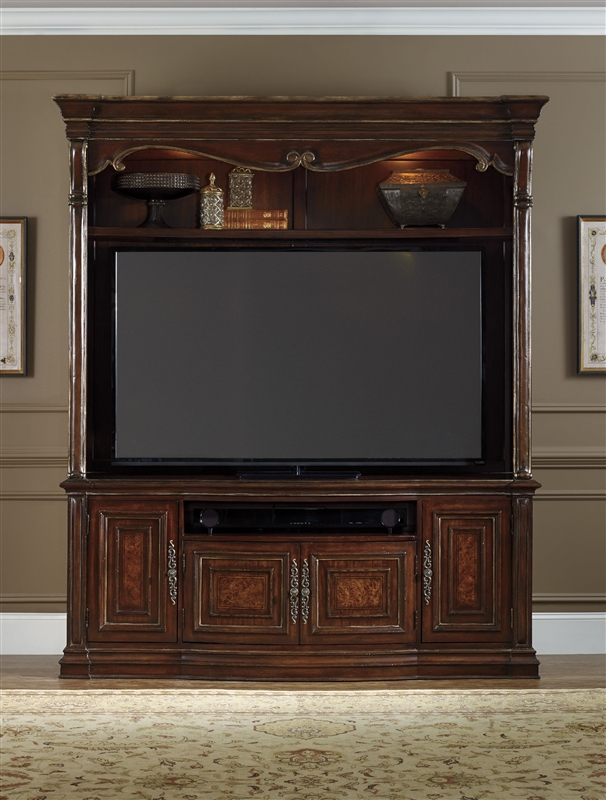 Grand Palais 2 Piece Entertainment Center In Dark Wood Finish By Furniture Hf 5272 70202