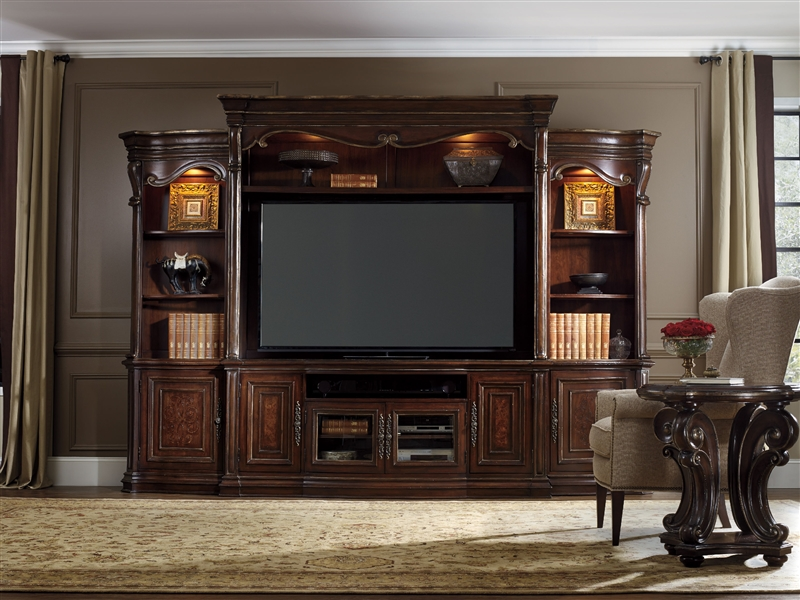 Grand Palais 4 Piece Entertainment Wall In Dark Wood Finish By Furniture Hf 5272 70222